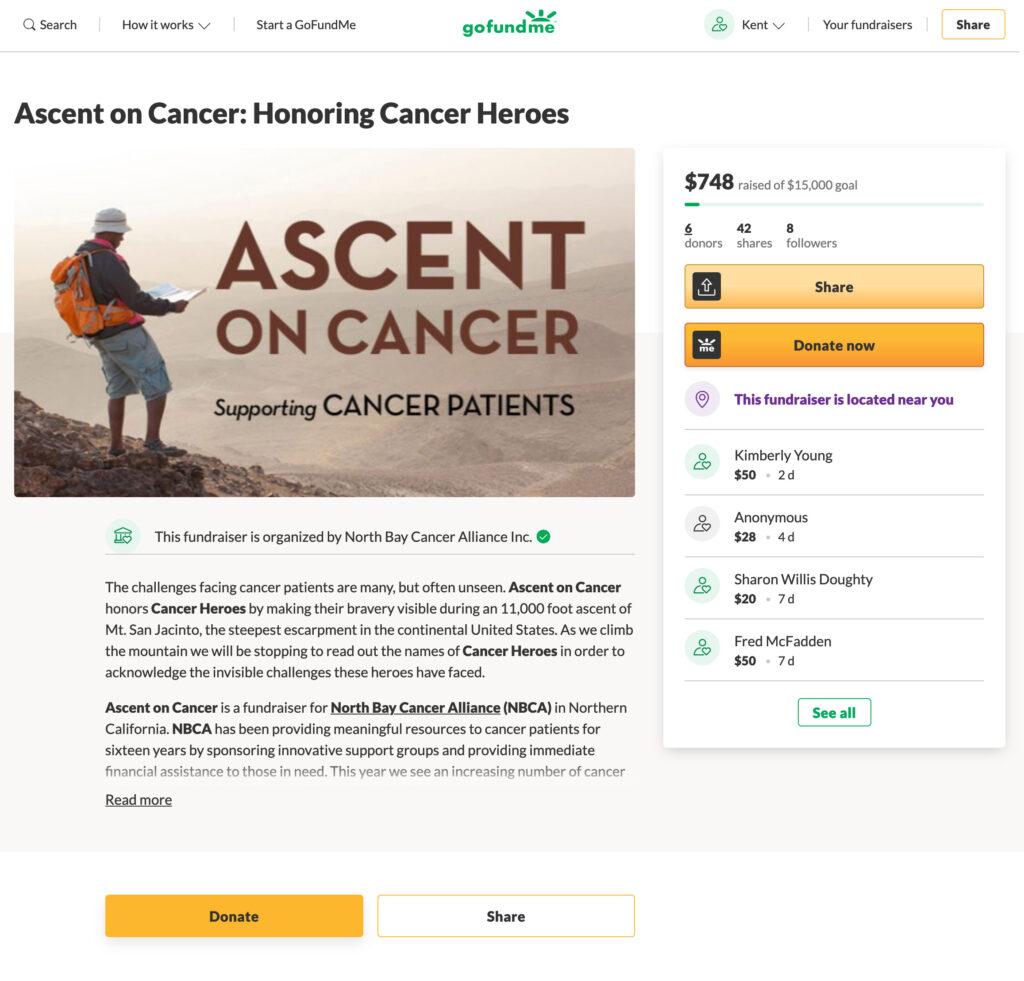 Ascent on Cancer GoFundMe page